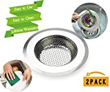 Replacing Sink Drain Assembly Drain Strainers Kitchen Sink Strainer Stainless Steel Large 4.5 inch Diameter Anti-Clog Fit for Kitchen Sink Bonus Scouring Pad