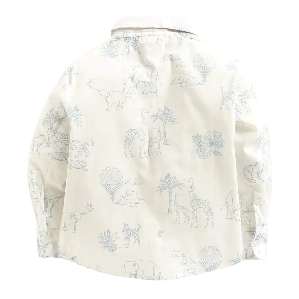 CrayonFlakes Boys White 100/% Cotton Jungle Print Full Sleeve Shirt KS-648 2-3 Y