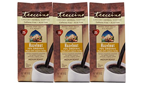 Teeccino Hazelnut Chicory Herbal Coffee Alternative, Caffeine Free, Acid Free, Coffee Substitute, Prebiotic, 11 Ounce (Pack of 3)
