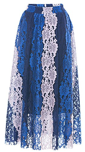 Chartou Women's Vintage Colorblock Stripe Crochet Floral Lace Flared Midi Skirt with Lining (Blue, Large)