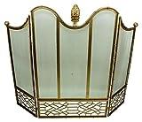 Art Deco Gold Firescreen | Pine Cone Finial Iron Fireplace Screen
