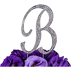 LOVENJOY Gift Box Pack Personalized Letter B Crystal Rhinestone Wedding Engagement Birthday Bridal Shower Metal Cake Decoration Topper Silver (3.3-inch)