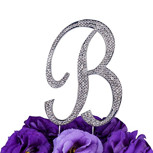 LOVENJOY Gift Box Pack Personalized Letter B Crystal Rhinestone Wedding Engagement Birthday Bridal Shower Metal Cake Decoration Topper Silver (3.3-inch)]()