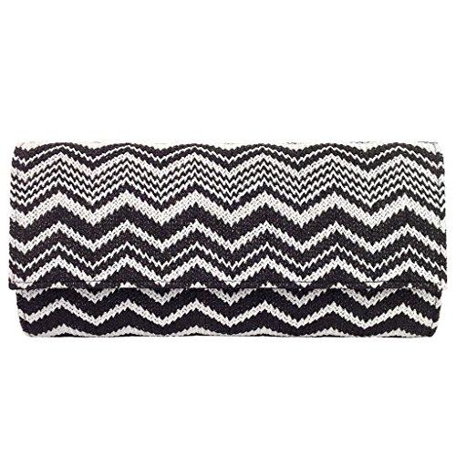 Multi Color Chevron Straw Clutch, Black & White