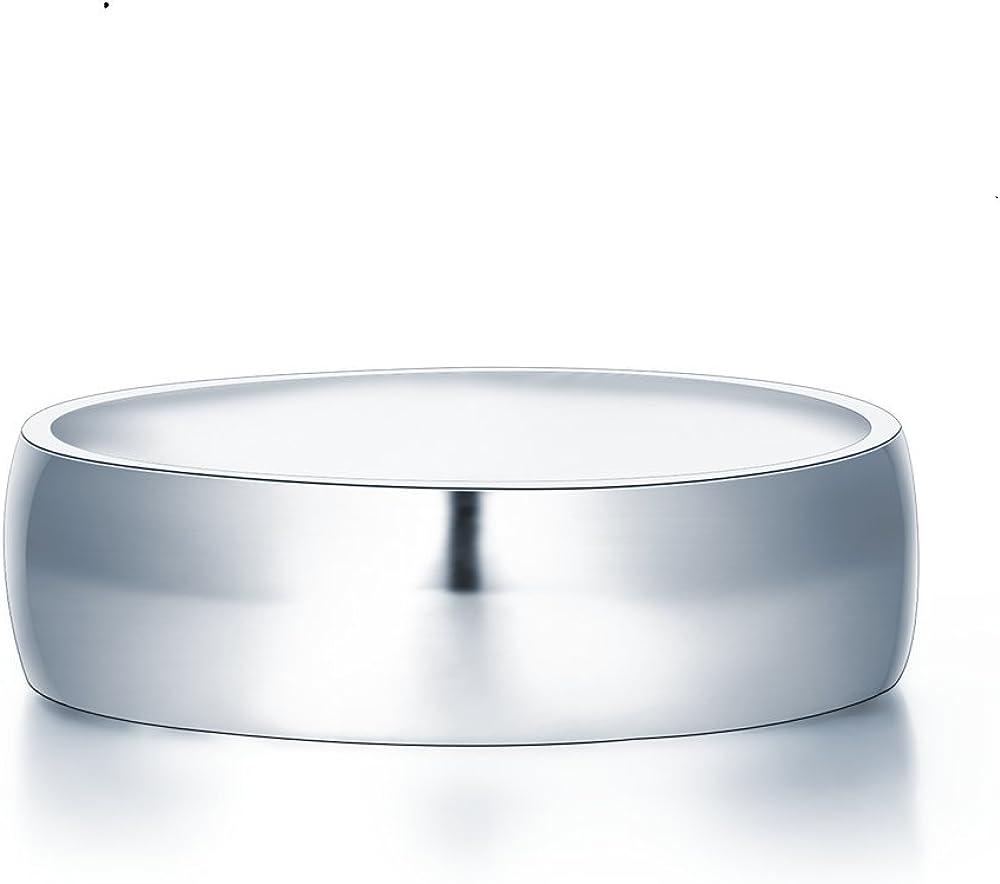 Alliance en argent massif en forme de D 6 mm /Écrin cadeau inclus