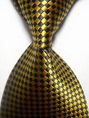 Jacob AleX #47133 Novelty Checks Gold Black JACQUARD WOVEN Silk Men's Tie Necktie