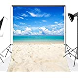 LB 5x7ft Vinyl Tropical Beach Photo Backdrops Blue Sea and Sky Background Customized Photo Background Studio Props