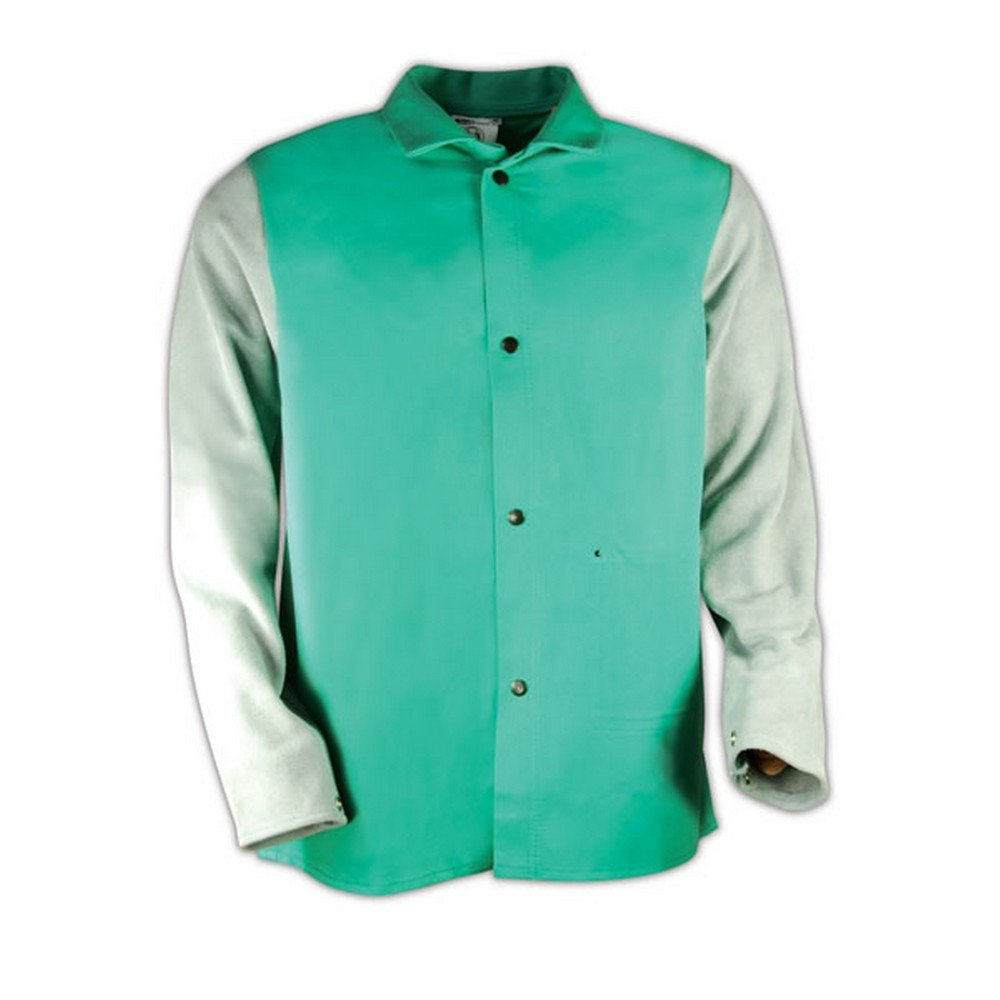 Magid 1830LSXXXL SparkGuard Flame Resistant Cotton Standard Weight Jacket with Grey Leather Sleeves, 30'' Length, 3XL, Green by Magid Glove & Safety (Image #3)
