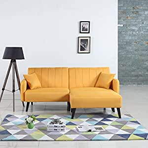 Mid-Century Modern Linen Fabric Futon Sofa Bed, Living Room Sleeper Couch (Yellow)