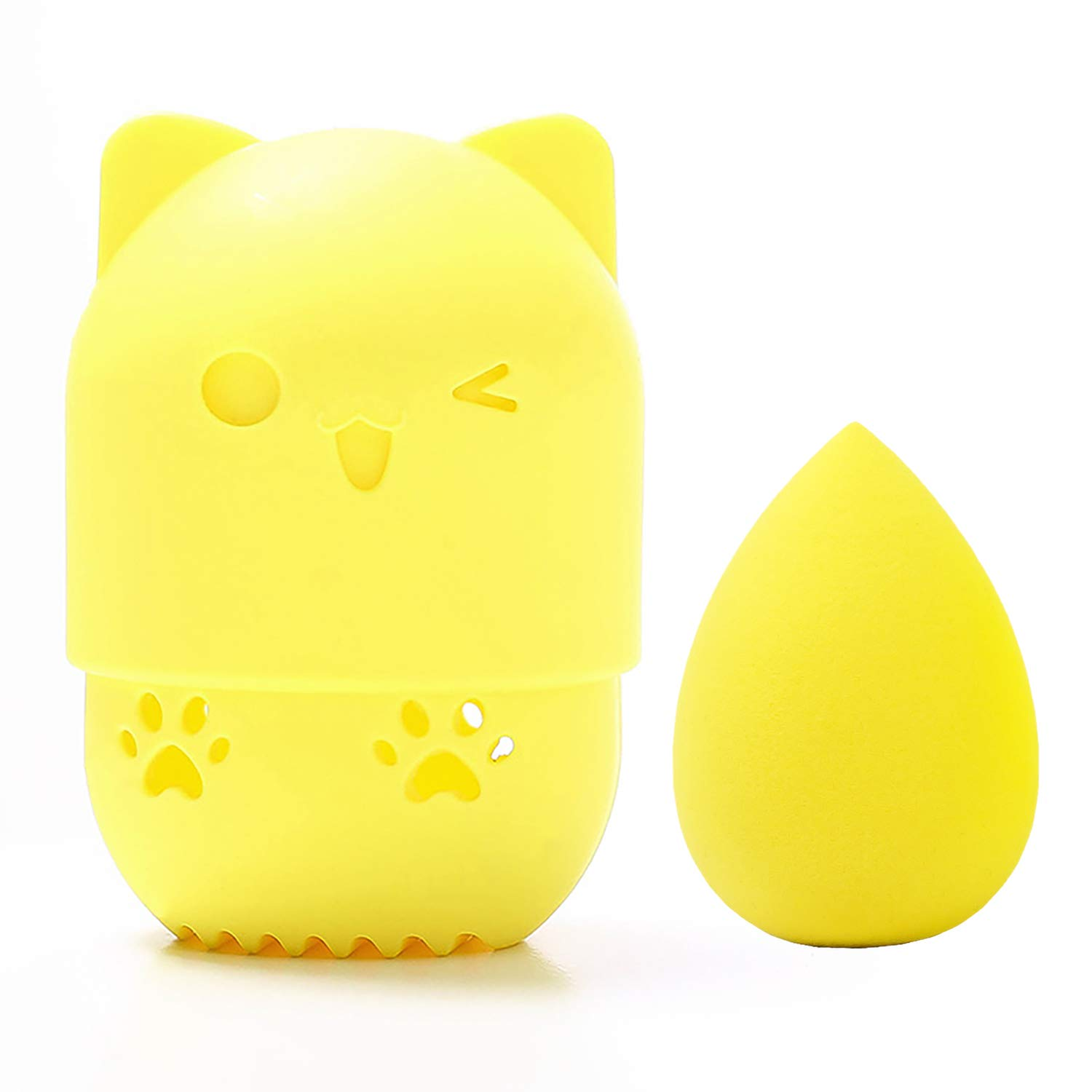 [Allure & Co.] Soft Makeup Sponge and Cute Cat Shaped Container Set - Travel Case for Beauty Blender (Yellow)