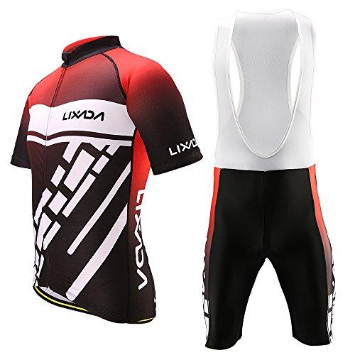 Lixada Men's Cycling Jersey Set Bicycle Short Sleeve Set Quick-Dry Breathable Shirt+3D Cushion Shorts Padded Pants (White+Black+Red, Asia XL=US Large)