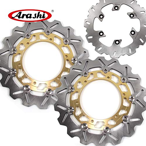 Rear Yzf600 Brake (Arashi Front Rear Brake Disc Rotors for YAMAHA YZF600R THUNDERACE 1996-1998 Motorcycle Replacement Accessories YZF600 YZF 600 R 600R 1997 Gold YZF R1 YZF-R1)