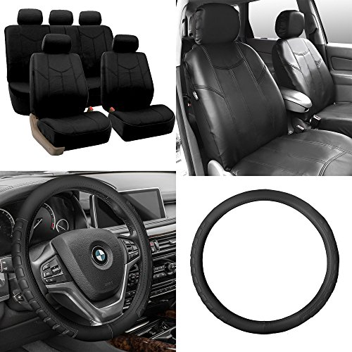 (FH Group FH-PU009115 Rome PU Leather Seat Covers Solid Black (Airbag Compatible and Split Bench) W. FH2006 Leather Black Steering Wheel Cover- Fit Most Car, Truck, SUV, or Van)