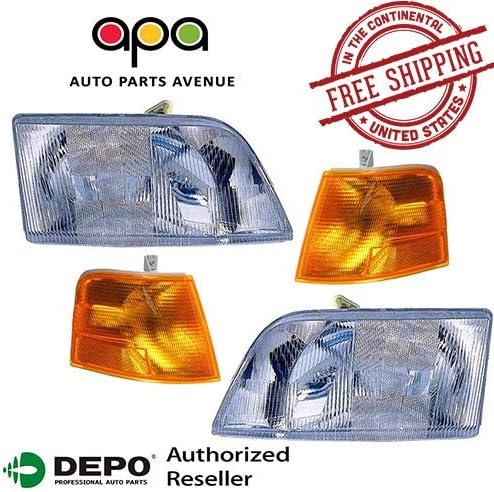 New Headlight PAIR w//Signal Corner Lights FOR 1998-2011 VOLVO VN VNM 200