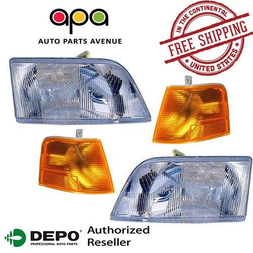 (For Volvo 98-11 Vnl 300 Vnm 200 Series Daycab Truck Head Light Corner 4 Piece Set)