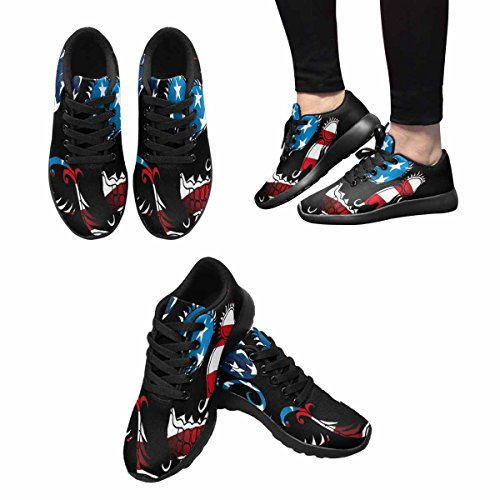 Interestprint Mujeres Jogging Running Sneaker Ligero Go Easy Walking Comodidad Deportes Zapatos Deportivos Tattoo Skull Multi 1
