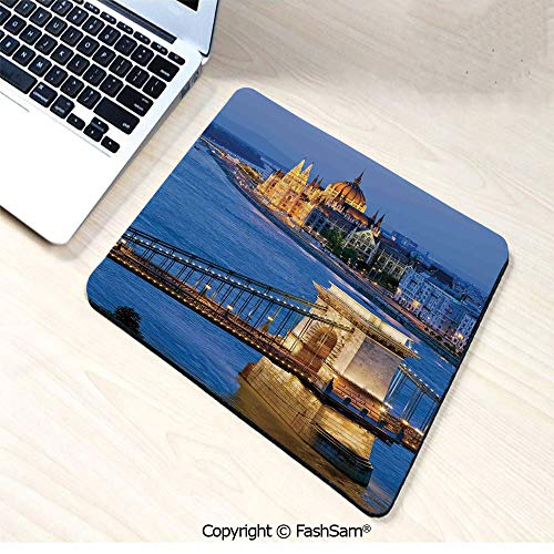 - Personalized 3D Mouse Pad River of Budapest at Evening Illuminated Bridge Hungarian Culture Heritage Decor for Laptop Desktop(W9.85xL11.8)