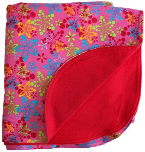 Custom Embroidered Personalized Two Ply Flannel Baby Blanket Burst of Bright Flowers -