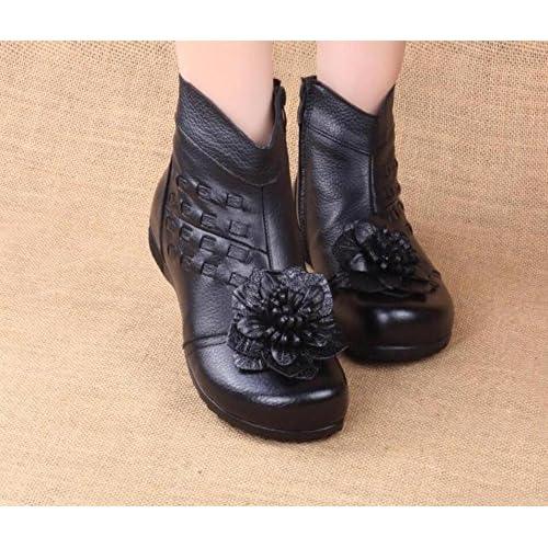 00de94325e84d HGTYU-Ma mère le munir de bottes chaudes Chaussures Coton Soft Base plate  de plus de fleurs en cuir