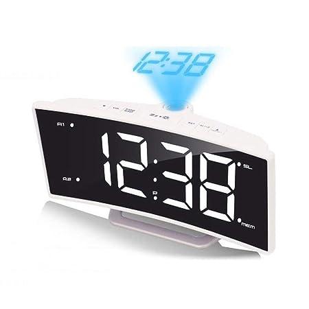 Reloj de Alarma de proyección, Gran Pantalla Curva de LED, Radio ...