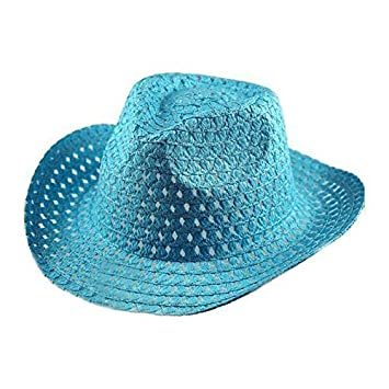 Kids Adults Easter Bonnet Hat Natural Straw Woven Colourful Decorative Cowboy Hats Baby Blue