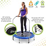 "Pure Fun 40"" in-home Mini Rebounder Trampoline with Adjustable Handrail, Ages 13+, Blue"