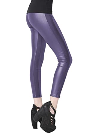 6c09f8a2bad604 Fashion MIC Womens Side Knit Panel Faux Leather Leggings at Amazon Women's  Clothing store: