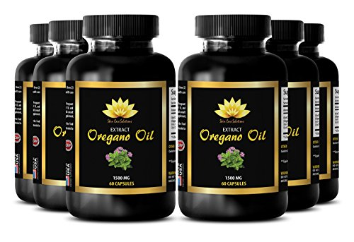 Relief of stress related herbal supplement - OREGANO OIL EXTRACT 1500mg - Oregano herb - 6 Bottles 360 Capsules by SKIN CARE SOLUTIONS