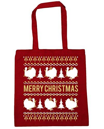 HippoWarehouse feliz Turquía Navidad Tote Compras Bolsa de playa 42cm x38cm, 10litros Classic Red