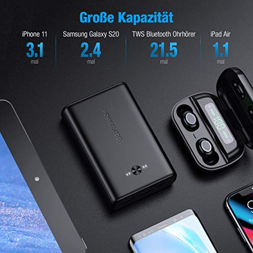 POWERADD Powerbank EnergyCell 15000 C Power Bank mit 2 USB-Ausgängen(5V/3A) und Type C Eingang(5V/3A) USB C Externer Akku für Handy iPhone Samsung Huawei iPad Tablet und Mehr