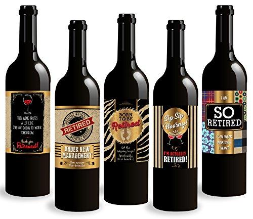 Party Bottle Wine (Standard Wine Labels 5-Pack RETIREMENT PARTY Wine Bottle Labels.)