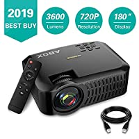 """Projector,2019 Newest ABOX A2 Native 720P Portable Home Theater LCD HD Video Projector with 3600 Lumen,180"""" Large Screen and Dual HiFi Speakers,Support 1080p HDMI/VGA/AV Multiple Ports"""