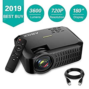 """Projector, ABOX A2 LCD Movie Video Projector with Full HD Native 720p, 3400 Lumen, 180"""" Big Screen, HiFi Speaker, Support 1080p with HDMI/USB/SD Card/VGA/AV Ports for Home"""
