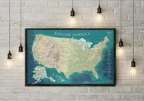 Push Pin Travel Map for the USA! Large Framed Push Pin Map