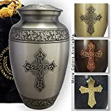 Love of Christ Silver Cremation Urns for Human Ashes Adult for Funeral, Burial, Niche or Columbarium Cremation, Urns for Adult Ashes, Cremation Urns for Human Ashes Adult 200 Cubic Inches Large/Adult