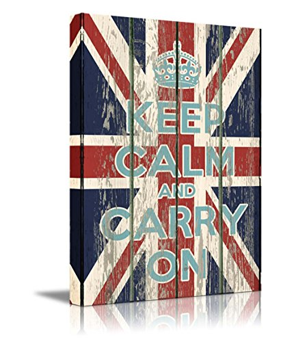 Keep Calm and Carry On Quote on Vintage Wood Board Style UK Flag