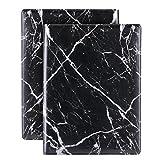 Plinrise Luxury Marble Portfolio File Folder Document Resume Organizer,Padfolio File Holder Folders Letter Size,Clipboard Folder with Writing Pad,Black Marbling