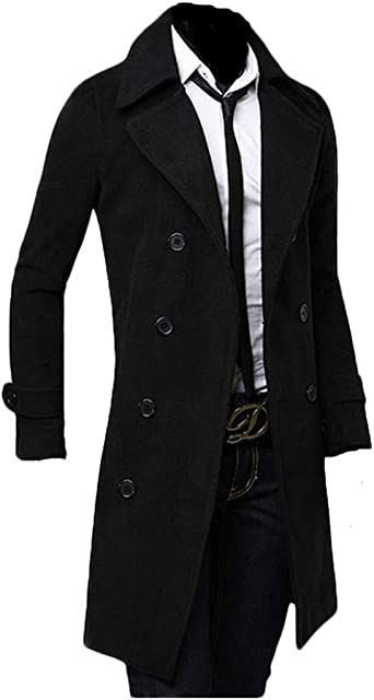 King Ma Men's Winter Warm Trench Double Breasted Long Jacket Overcoat