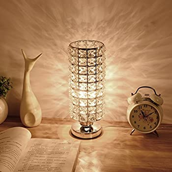Zeefo crystal table lamp nightstand decorative room desk lamp creatgeek crystal table lamp with onoff dimmer switch and 5 plug in cord for bedroom living room or study room greentooth Choice Image
