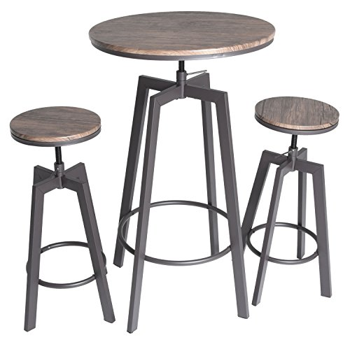 Zenvida 3 Piece Round Pub Table and Stool Set Wood Top Metal Bar Bistro (Pub Tables Sets)