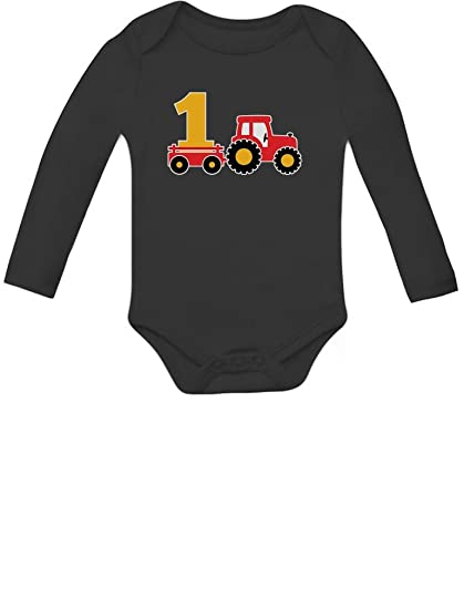 One Year Old Boy Birthday Gift 1st Tractor Baby Long Sleeve Bodysuit Newborn Black