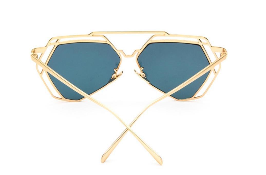 XYLUCKY Lunettes de soleil rétro en forme de V en polygone en métal Rue Fashion Hollow Bright Frame Femmes Sunglasse , c