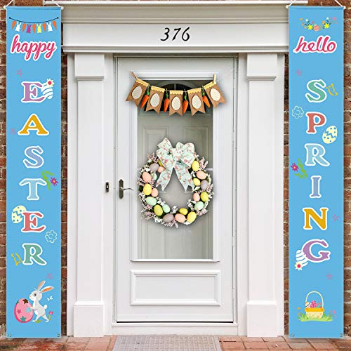 Positivelife Easter Porch Signs, Front Porch Easter Decorations Outdoor Indoor Party Bunny Eggs Decor Easter Banner Easter Hanging Front Door Signs Holiday Welcome Sign - Happy Easter & Hello Spring