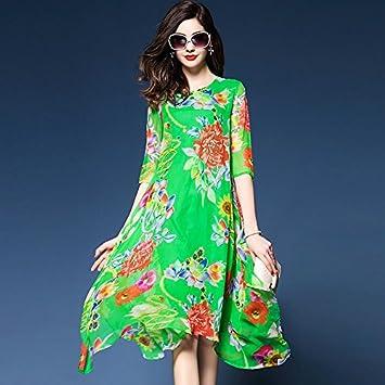 81179db300c JIALELE La Mujer Plus Size Boho Gasa Vestidos Sueltos de Giro - Floral,  Elegante Chiffon Imprimir: Amazon.es: Deportes y aire libre