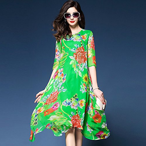 Gasa Imprimir Sueltos Mujer Boho Elegante Giro Vestidos Jialele Chiffon Plus La Green De Floral Size p1OwcAXq