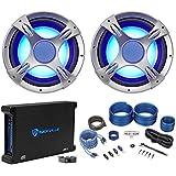 (2) NYC Acoustics NC12S4 3200 Watt 12 LED Car Subwoofers+Mono Amplifier+Amp Kit