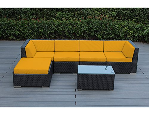 Ohana 6 Piece Outdoor Wicker Patio Furniture Sectional Conversation Set  With Weather Resistant Cushions, Sunbrella Yellow