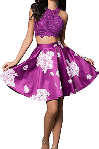 Homdor Floral Printed 2 Piece Prom Dress Short Formal Gown for Women 2017 by Homdor