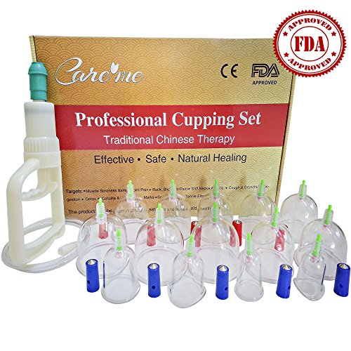 Professional Grade Pump (Chinese Acupuncture Cupping Therapy Set - FDA Approved Medical Grade Professional Cupping Kit (14 Cups Guaranteed 5-Yr Life Span) - Free Extension Tube, Pump Gun, English Manual Included)