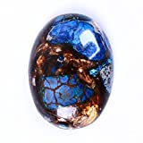 30x22mm Oval Cabochon CAB Flatback Semi-precious Gemstone Ring Face (Blue Sea Sediment Jasper & Copper)
